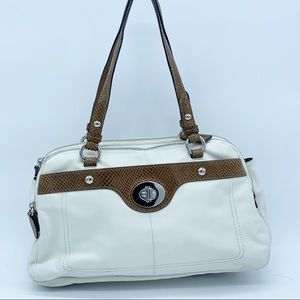 Coach White cream leather Penelope satchel tote